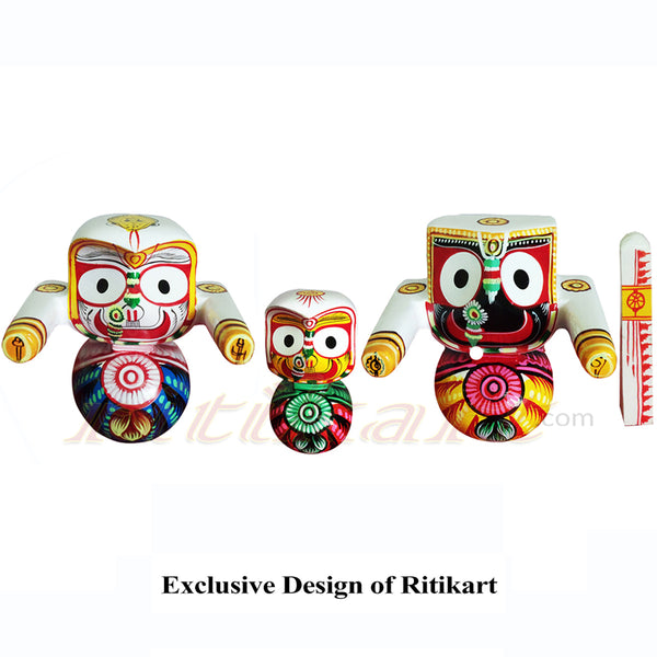 Jagannath Balabhadra Subhadra Wooden Idol 6 Inch Height Round-pc1