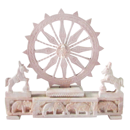 Konark Wheel Pink Stone With Horse Stand  Work