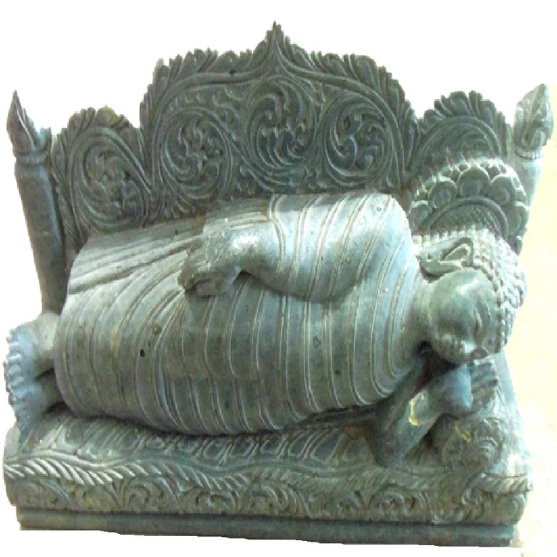 Sleeping Budha Green stone Work Showpiece