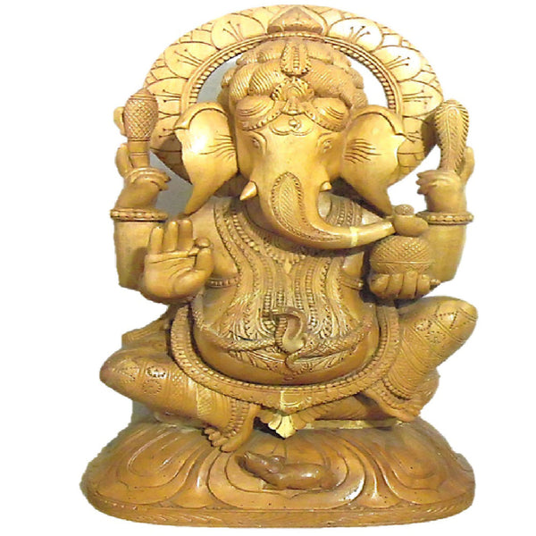 Lord Ganesh Wood Carving Work Showpiece