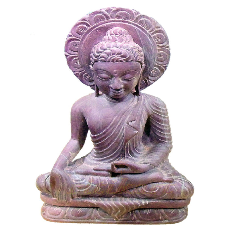 Pink Stone Sitting Lord Buddha Showpiece