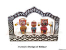 wooden Car Decor Jaganntah Balabhadra and Subhadra Idol in a Frame pic-1