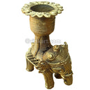 Dokra Elephant with candel stand  Showpiece