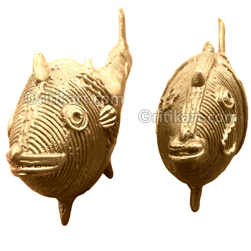Ancient Dokra Brass Fish Set of 2