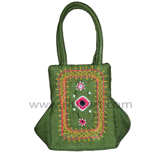 Pipili Hand Made fancy Ladies green Bag with Mobile holder-pc1