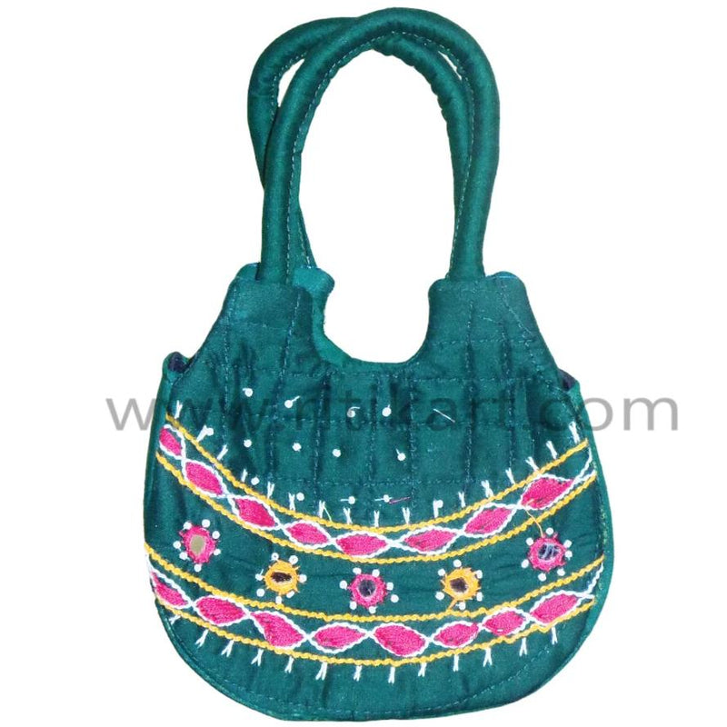 Pipili Hand Made fancy Ladies Green Bag-pc1