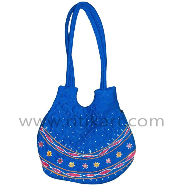 Hand Made fancy Ladies Vanity Blue Bag