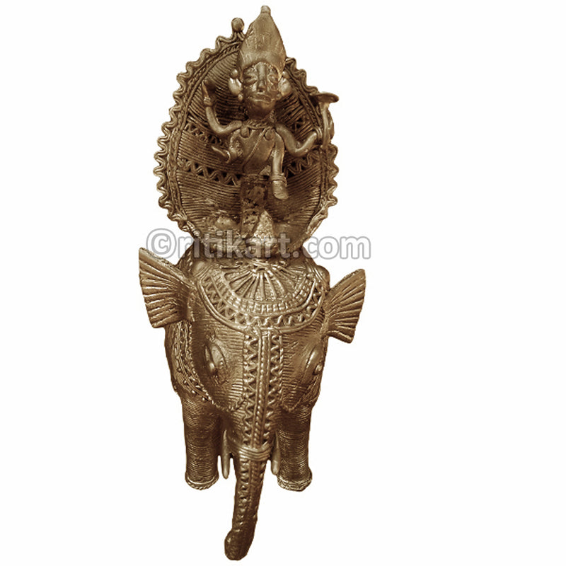 Dokra Brass king sitting on Elephant special Showpiece