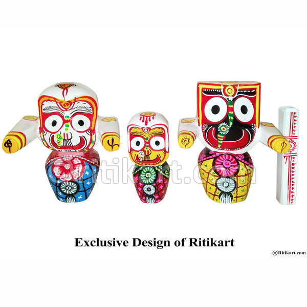 Jagannath Balabhadra Subhadra Wooden Idol 8 Inch High