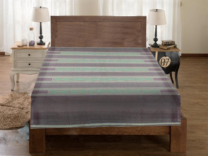 Sambalpuri Light Green and Grey Color Double Bed Sheet