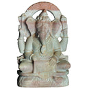 Pink Stone Sitting Ganesh with harmonium