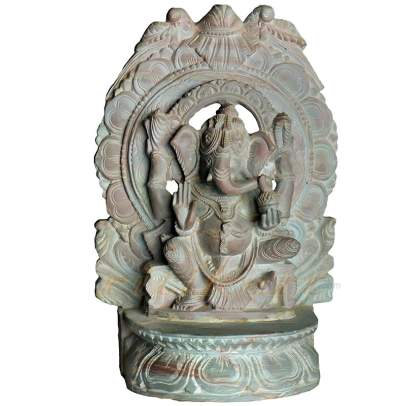 Pink Stone Sitting Ganesh with Arch Design