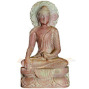 Sitting Budha Pink Stone Work Showpiece