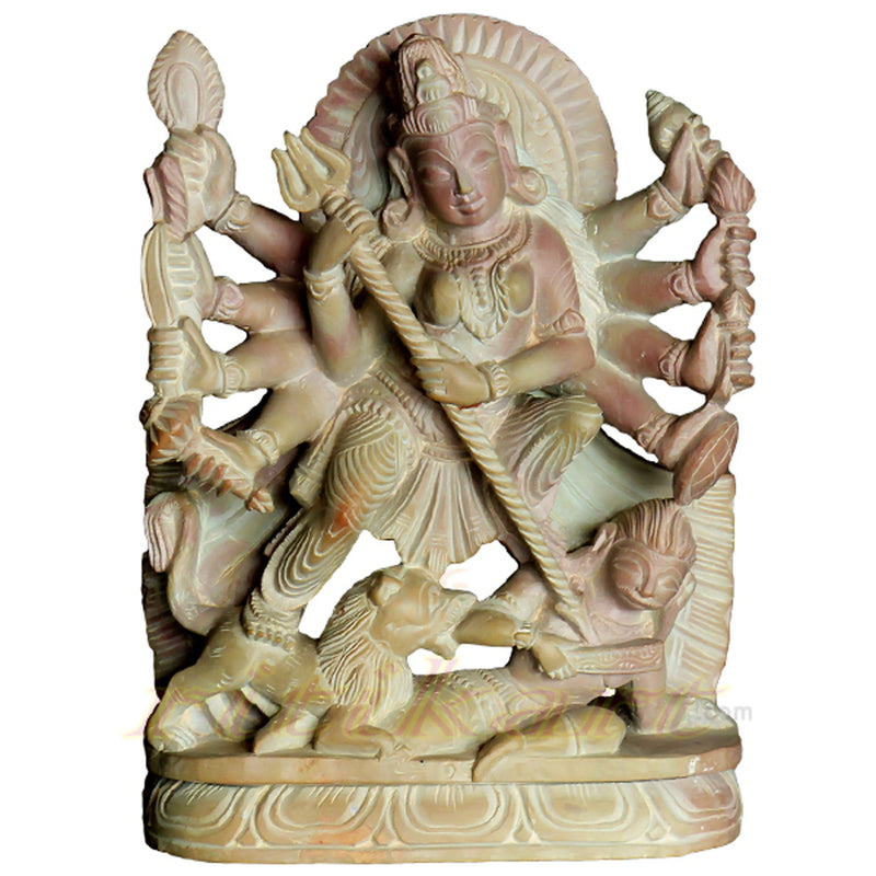 Lord Durga Pink Stone Statue