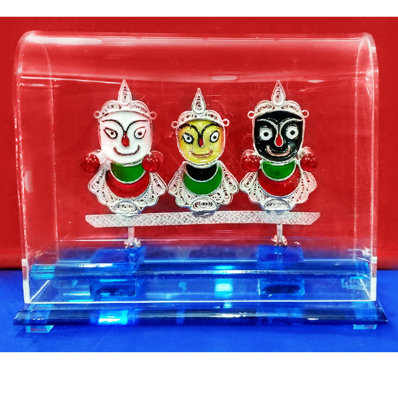 Silver Filigree Work Lord Jagannath Balabhadra and Subhadra