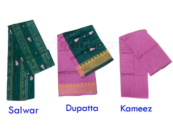 Sambalpuri Cotton Salwar Suit Material Green and Pink Color pic-1