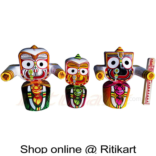 Jagannath Balabhadra Subhadra Neem Wood Idol 25 CMs High pic-1