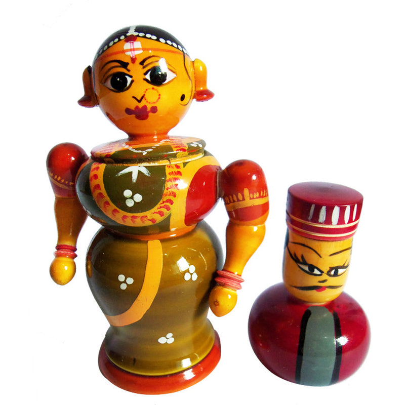Chanapatna Wooden King and Queen Toys