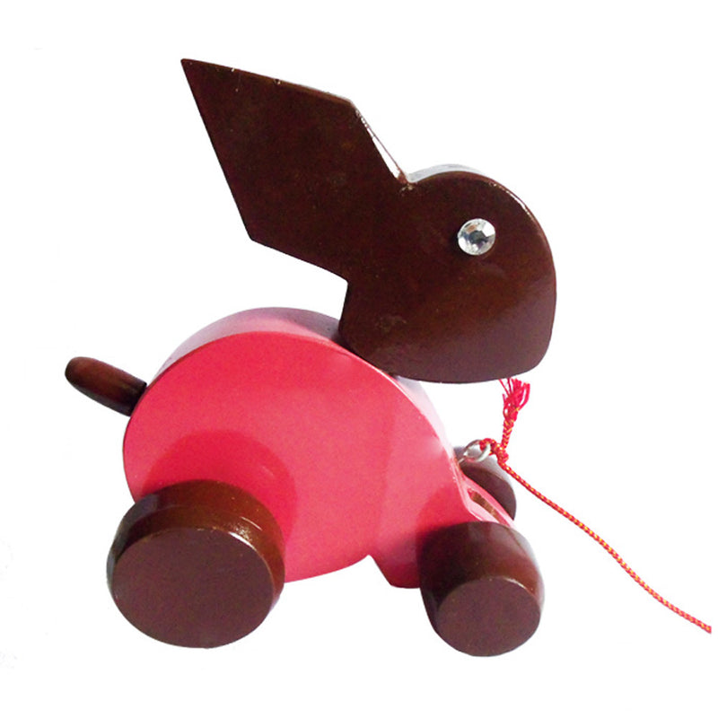 Hand-carved Wooden Rabbit Toy (Pink and Brown)