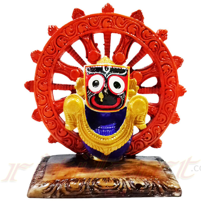 Marble Work Jagannath With Chakra Statue