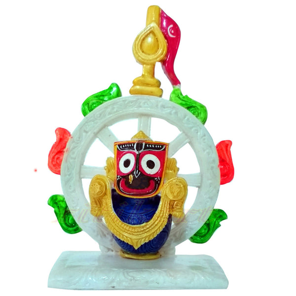 Marble work Lord Jagannath With Nila Chakra Showpiece
