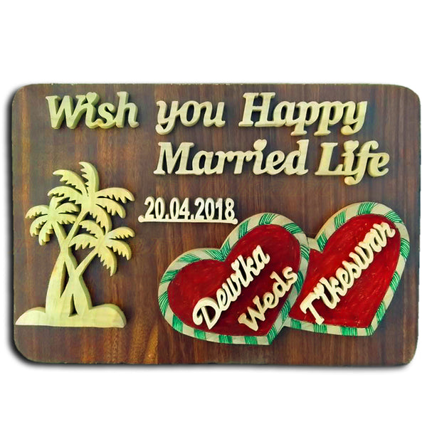 Wood Cutting Wish you Happy Married Life