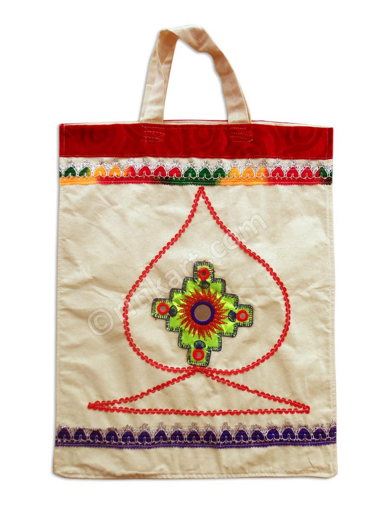 Applique Handmade Cotton Hand Bag-pc1