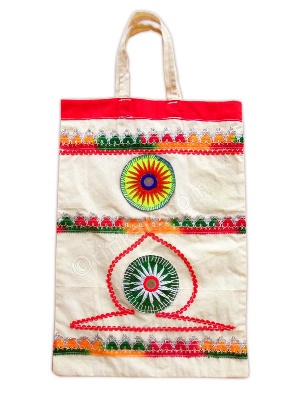 Applique Cotton Hand Bag