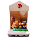 Marble Work-Lord Jagannath Balabhadra And Subhadra Statue With Puri Temple Background