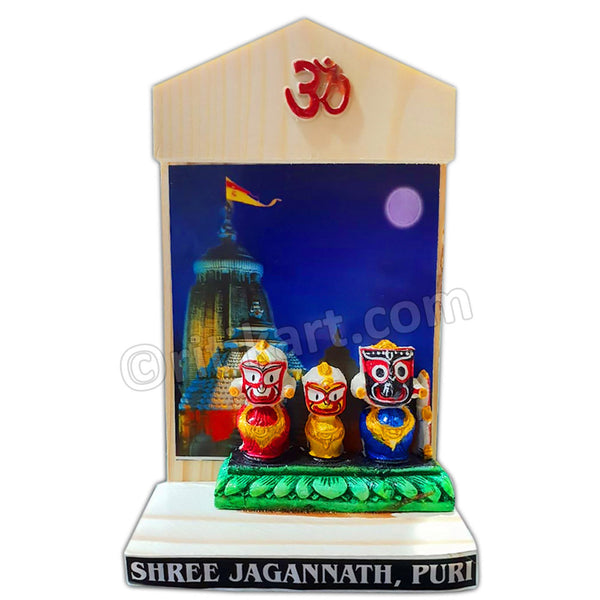 Lord Jagannath Balabhadra And Subhadra Marble Statue with Puri Temple