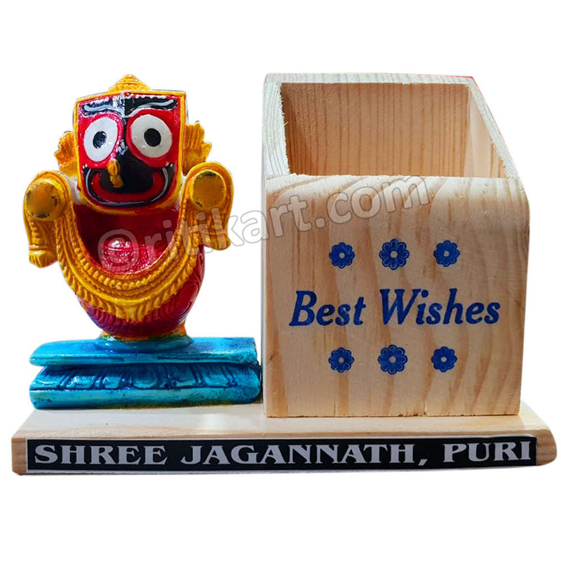 "Marble work Lord Jagannath Statue With ""Best Wishes"" Pen Stand"