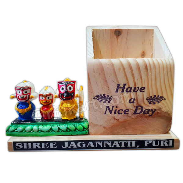Marble Work-Lord Jagannath, Balabhadra And Subhadra Statue With Pen Stand