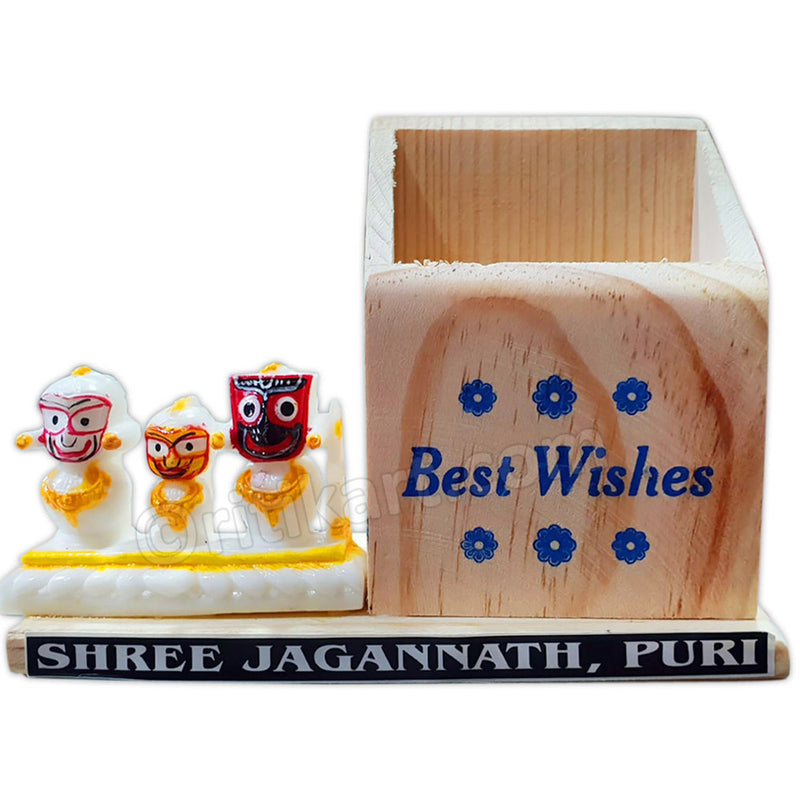 Marble Work-White Lord Jagannath, Balabhadra And Subhadra Statue With Pen Stand