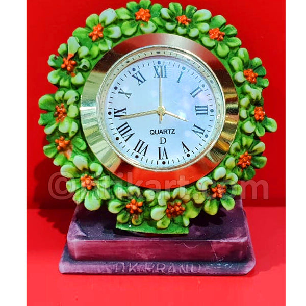 Marble Work Table Clock With Flower Design