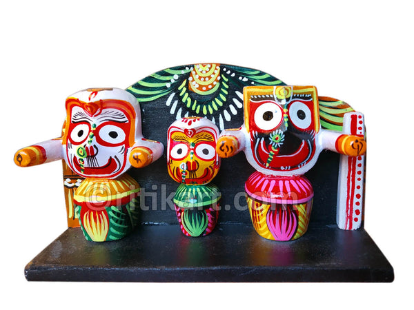 Car Decor wooden Jaganntah Balabhadra and Subhadra Idol in a Frame pic-1