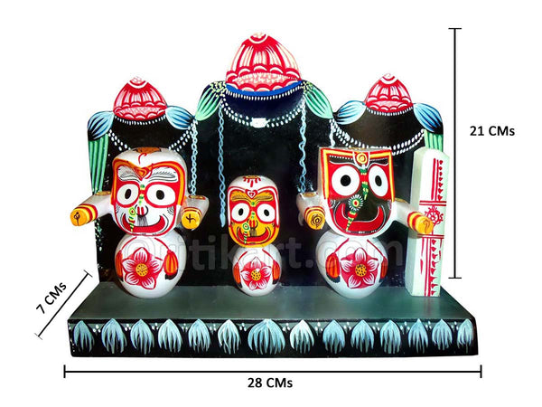 Lord Jagannath Balabhadra Subhadra Idol With Prabha (4 Inch)
