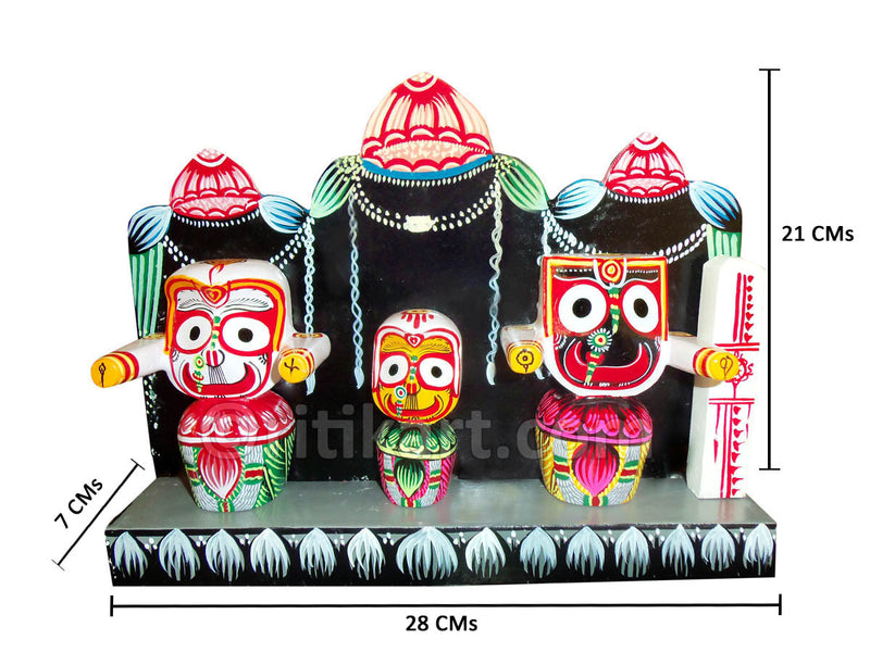 Lord Jagannath Balabhadra Subhadra Idol 4 Inch With Prabha pic-1