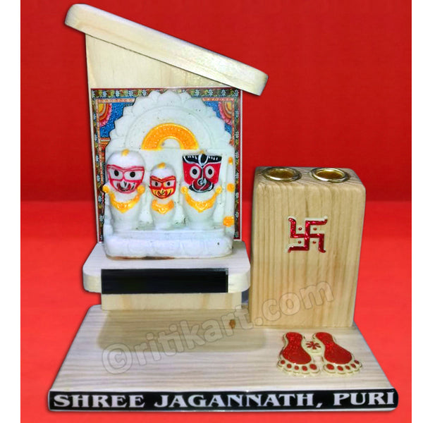 Lord Jagannath Balabhadra And Subhadra Marble Statue With Pen Stand