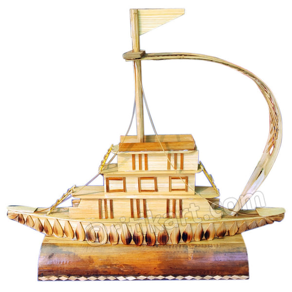 Handcrafted Bamboo Boat Showpiece