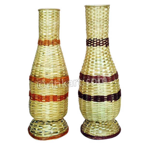 Handcrafted Bamboo Dual Flower Vase Showpiece