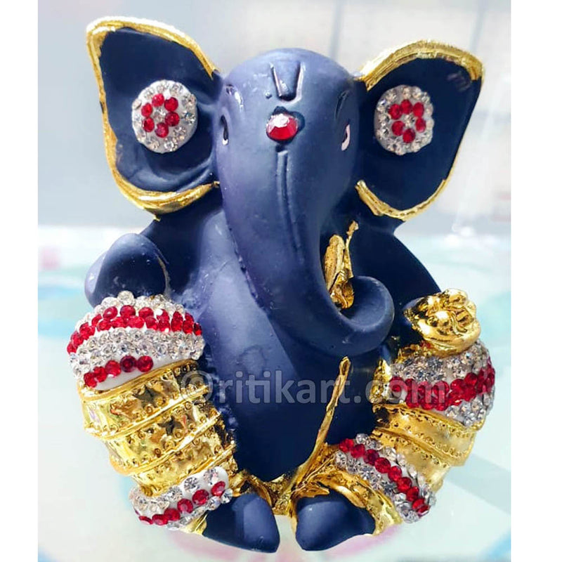 Gold-Plated Alloy Lord Ganesh Decorative Blue Color Showpiece