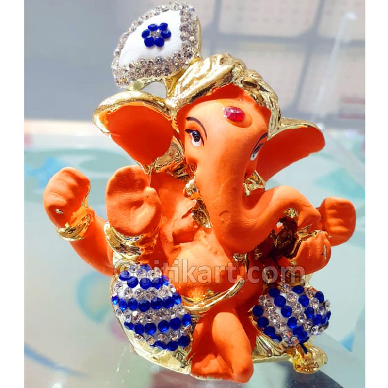 Gold Plated Alloy Cute Lord Ganesh wearing Pagadi Showpiece