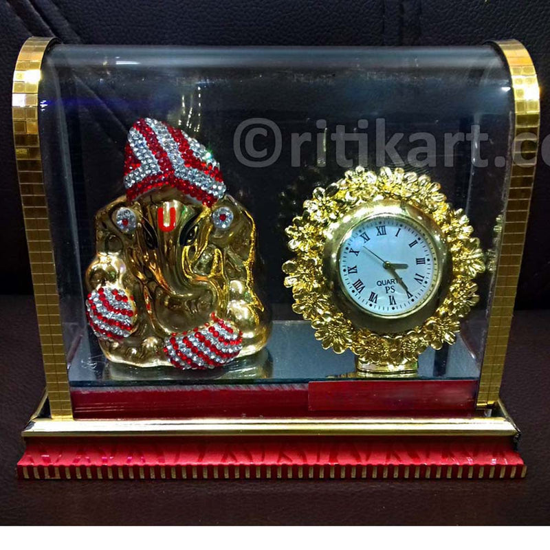 Gold-Plated Alloy Lord Ganesh With Clock Showpiece