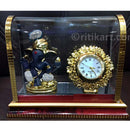 Gold-Plated Alloy Lord Ganesh and Clock Showpiece