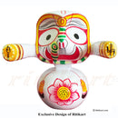Jagannath Balabhadra Subhadra Wooden Idol Height 15 CMs Round Design-pc4