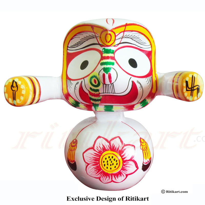 Jagannath Balabhadra Subhadra Wooden Idol Height 20 CMs Round Design-pc4
