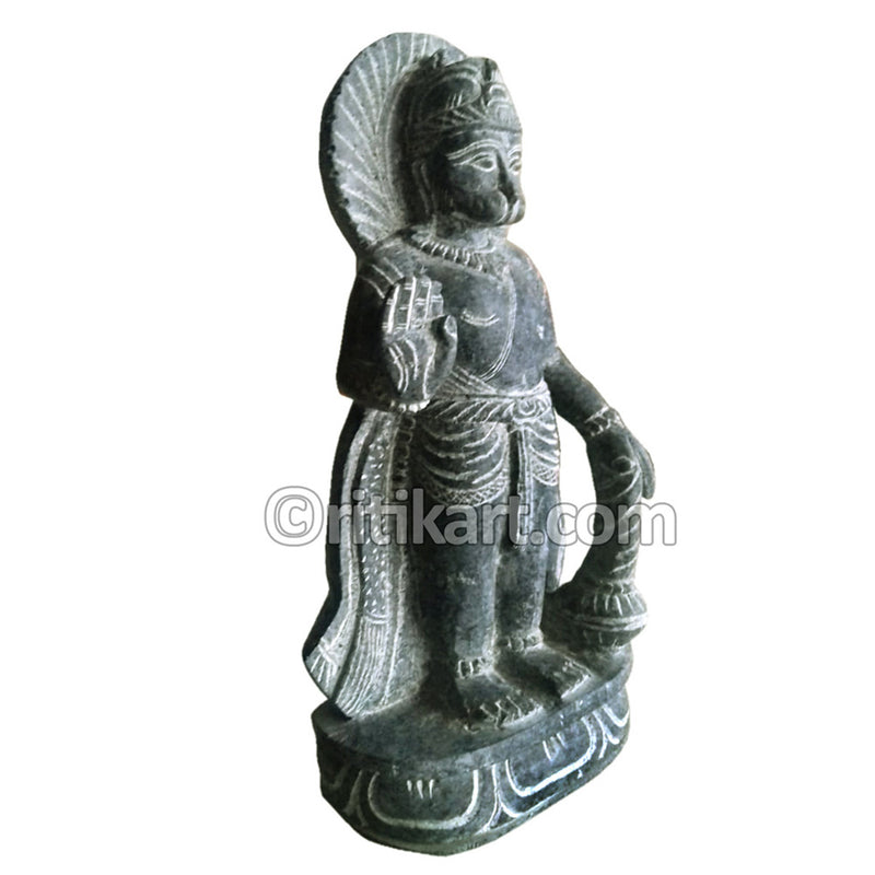 Black Granite Stone Ancient Hanuman Statue-pic2
