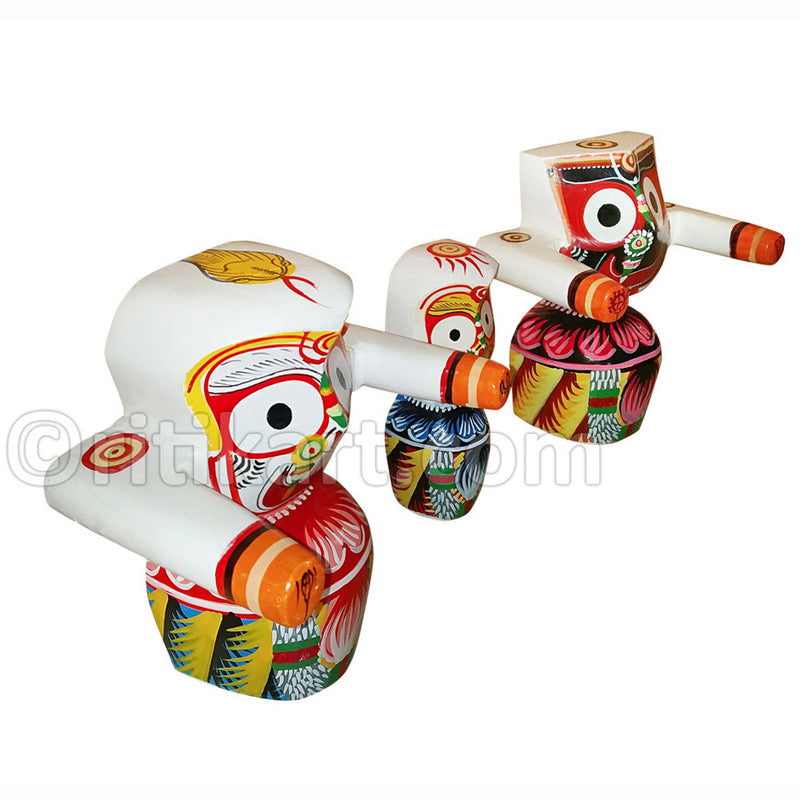 Jagannath Balabhadra Subhadra Wooden Idol 15CMs High-pc3