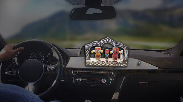 wooden Car Decor Jaganntah Balabhadra and Subhadra Idol in a Frame pic-3