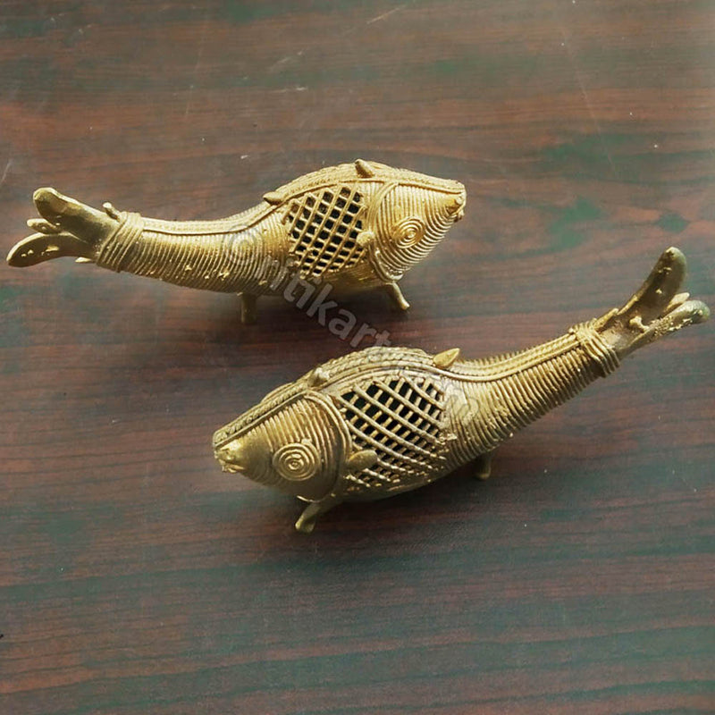 Dokra Art Product  Dual Fish Showpiece-pic4